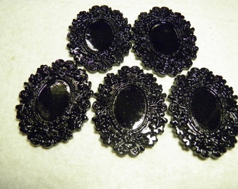 5 Black Cameo Settings, Ornate Oval Resin Frame, 18x25mm Cab Cabochon Setting Bezel, Gothic Jewelry, Goth Neo Victorian Mourning, Steampunk