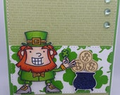Handmade Card, Greetings, Gift, Saint Patricks - St. Patricks Day Lucky Lephrachan