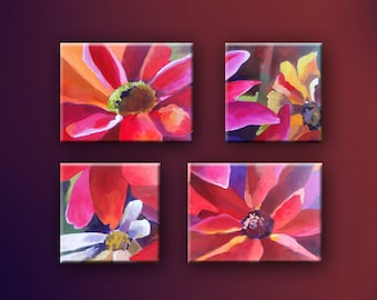 "Original Acrylic Floral Abstract painting- Quattro Petals - 2 of 12"" x 12"" and 2 of 12"" x 16"""