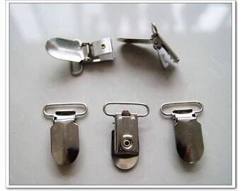 18pcs Metal Pacifier Clips - 30 mm suspender clips / Bib Holder silver