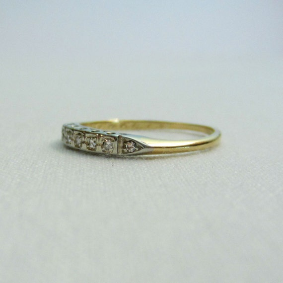 Vintage Diamond Wedding Band Two Tone Gold Ring With By Addy