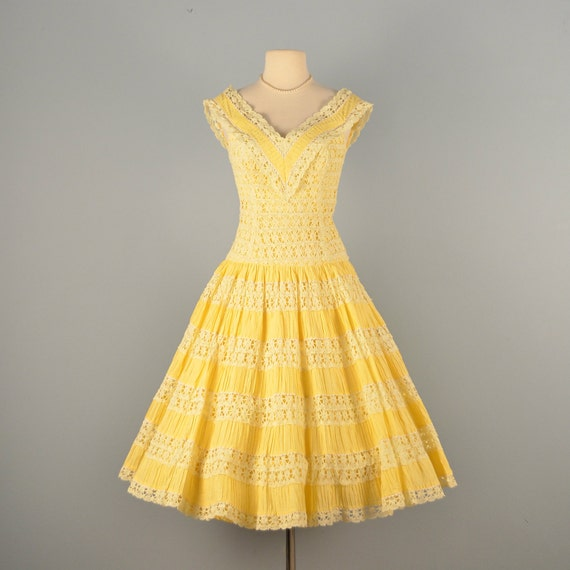 Vintage 1950s wedding dress beautiful sunny yellow cotton for Mexican style wedding dress