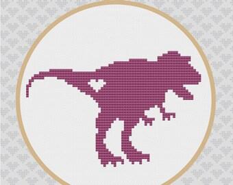 Tyrannosaurus Silhouette Cross Stitch PDF Pattern