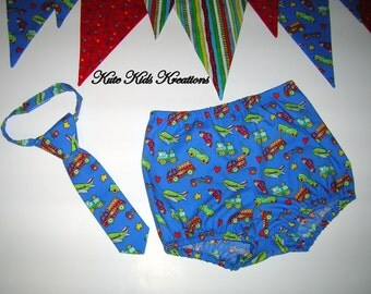 Baby Boy's Diaper Cover/Bloomer and Tie, Cars/Trucks/Fire Trucks/Trains/Airplanes/Race Cars, Cake Smash Photo Prop, Made to Order