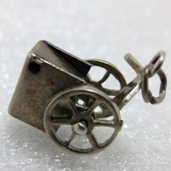1930s MOVABLE STREET VENDOR - Hand Crafted Cart Sterling Silver Charm or Pendant