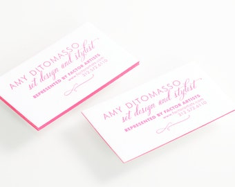 Pink Letterpress Calling Cards or Business Cards - Set of 100 - by Abigail Christine Design