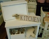 KITCHEN WOODEN SIGN - Choose 1/12 or 1:6 Scale Miniature