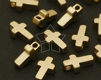 ME-135-MG / 4 Pcs - Tiny Flat Cross Bead Centerpiece, Matte Gold Plated over Brass / 5mm x 8.5mm