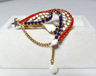 Red White and Blue Rhinestone Brooch Apparel & Accessories Jewelry Vintage Jewelry Brooch Rhinestone
