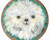 Furry and cute critter called Fergus. tiny original artwork on wood.
