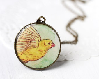 Bird Art Pendant Necklace - Yellow Canary Taking Flight from Vintage Children's Storybook, Flying Spread Wings
