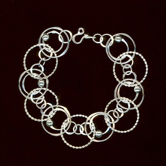Sterling Silver Large Chain Bracelet Beaded Circles Wire Jewelry Twisted Circle Hammered Chain Bracelet