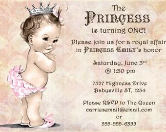 Princess Birthday Invitation For Girl - Princess Party- First Birthday Girl - DIY Printable