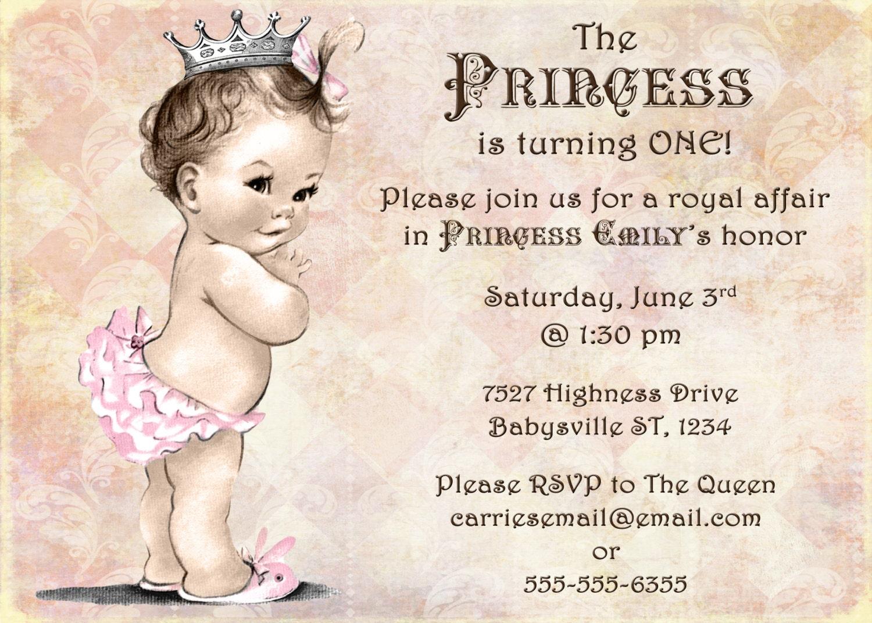 Princess Birthday Invitation For Girl Princess Party First – First Birthday Princess Invitations