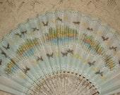Antique Victorian Paper Hand Fan - Butterflies, Boat Scene - Pastels - Handpainted, Glitter