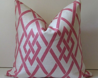 Decorative Pillow Covers - Pink and White Lattice - 18 inch - Bamboo Lattice - Pink - SALE - ready to ship