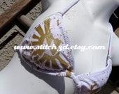 small LIMITED WHITE triforce eagle Legend of Zelda bikini top