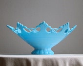 Ring and Petal Blue Milk Glass Bowl by Westmoreland, 1960s