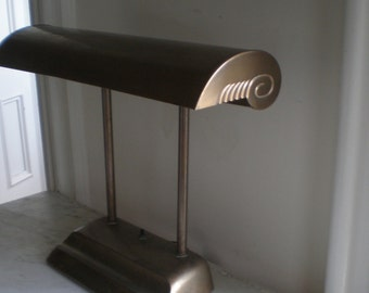 Industrial Deco Desk Lamp / Large Bankers Lamp