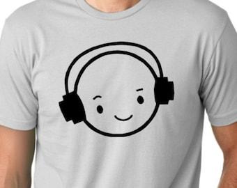 Happy face DJ funny T shirt drinking Humor Tee