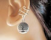 Wire Ear Cuff Birthstone Silver TierraCast Tree of Life