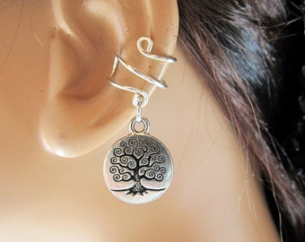 Wire Ear Cuff Birthstone Silver TierraCast Tree of Life