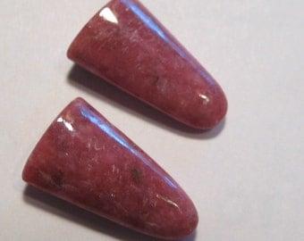 Rhodonite Tongues ... 2 pieces .......      25 x 14 x 7 mm...........       a313
