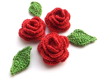 Red roses applique with green leaves - crochet flower applique - crochet roses embellishments - wedding decorations - set of 3  ~1.6 inches
