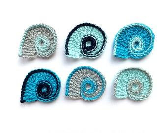Crochet sea shells applique - Beach wedding decorations - beach party decor - sea shells embellishments - blue sea shells decor - set of 6