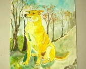 """Original Watercolor Painting of """"Chinook Dog""""  direct from artist"""