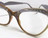 Vintage Silver Tone Cats Eye Prescription Eyeglasses Liberty 5 1/2