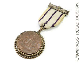 Steampunk Vintage Medal Lapel Pin - British Half Penny Clipper Ship Antique Jewel Bearing Watch Movement Pin - Vintage Pin