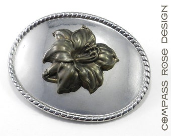 SALE CLEARANCE Victorian Flower Blossom Belt Buckle Gold on Silver - discontinued item