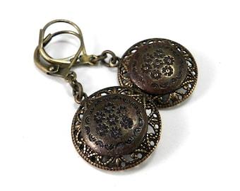 Victorian Button Earrings - Antique Button Earrings Edwardian Brass Dress Button Earrings Bohemian Vintage