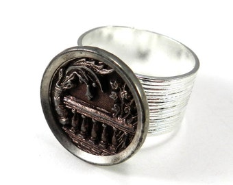 Antique Button Ring, Victorian Jewelry, Silver Victorian Garden Gate, Vintage Button Jewelry, Silver Plated Ring