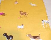 Heather Ross Lightning Bugs yellow mustard dogs 1/2 yard