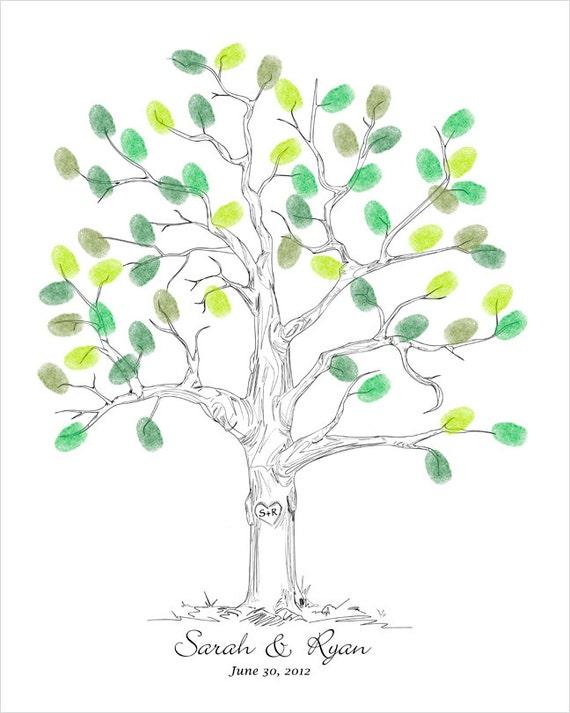 Thumbprint Wedding Tree Guest Book Alternative Personalized Wedding Gift Custom Wedding Keepsake Unique Guestbook Hand Drawn Wedding Tree