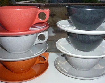 Atomic Diner Dishes Retro Mid Century Modern 54 Pc Mixed Melamine Eames Era Coffee Shop Perfect
