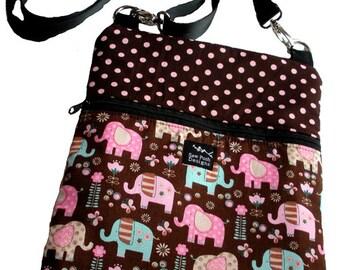 Elephants Polka Dots Flowers Pink Brown Fabric iPad Kindle Nook Tablet E Reader Passport Washable Messenger Bag  Sling Purse