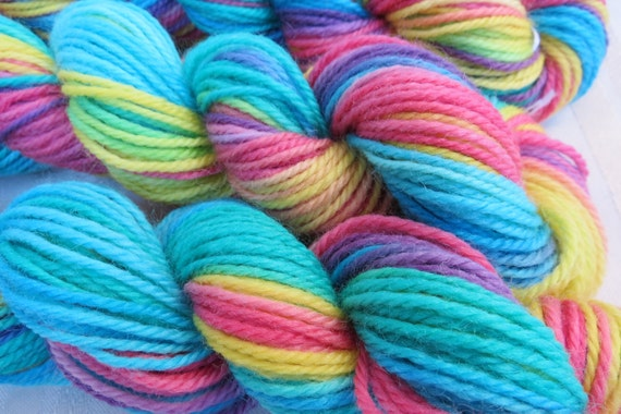 Rainbow Fish Hand Dyed DK weight 120 yards