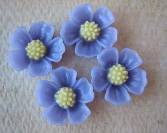 4PCS - Daisy Cabochons - Resin - Lavender - 10mm - Findings by ZARDENIA