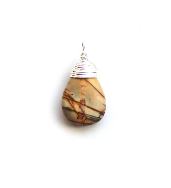 Jasper pendant. wire wrapped gemstone pendant. unisex gift pendant. earthy stone ornament brown tan rust striped