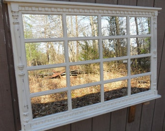 Window Mirror, White Window Mirror , White Mirror, Wall Mirror. Window Pane Mirror, large mirror, Rustic Mirror, Distressed Furniture