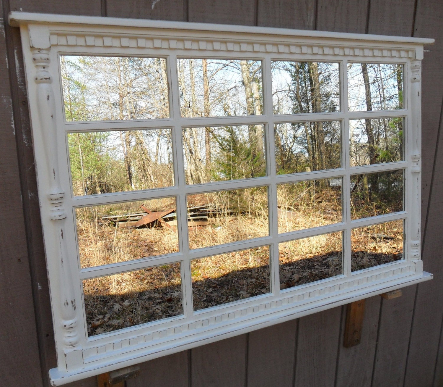 Items similar to usa woodworks cottage distressed window for Window wall mirror