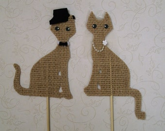 Cat Cake Topper in Burlap ( 1 pair )