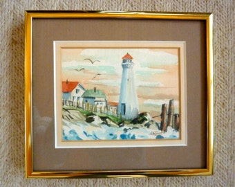 Vintage Lighthouse Watercolor Painting Signed Brass Frame Double Matt Blue Peach Red Green Small Original Watercolor 6 x 7 inches