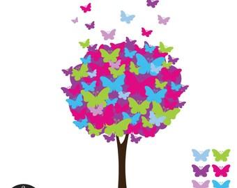Butterfly Tree Digital Clip Art - Lollipop Love