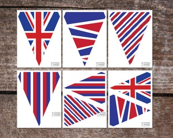 Union Jack Printable Pennant Banners - PDF - Letter or A4 pages