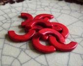 Crimson Wing - Howlite Half Circle - Wing Beads - 10 Beads