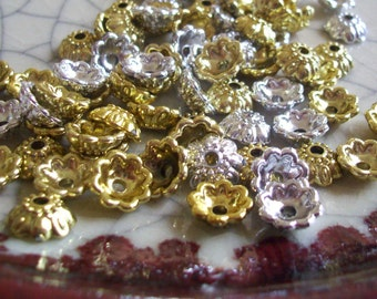 Fancy Bead Caps - Gold Metallic Plastic - 24 caps